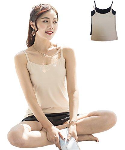 Qianerzi Value 2 Pack Women's Basic Tank Tops Camis Camisole Adjustable Strap Comfortable Silk Feeling Fabric Nude/Black S/M