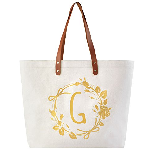ElegantPark G Initial Personalized Gift Monogram Tote Bag with Interior Zip Pocket Canvas