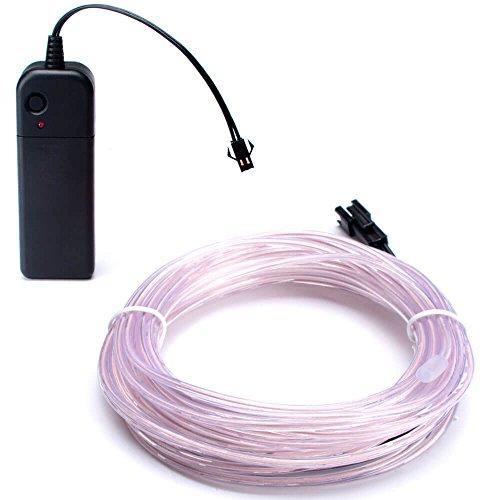 Zitrades EL Wire Neon Lights White 15ft, Portable Neon Glowi