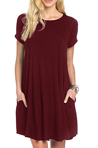 TINYHI Women's Swing Loose Short Sleeve Tshirt Fit Comfy Casual Flowy Tunic Dress Wine Red, X-Large