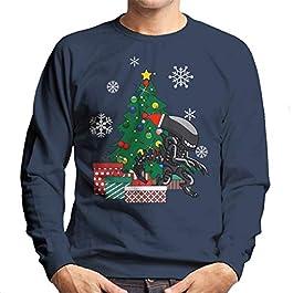 Alien Xenomorph Around The Christmas Tree Men's Sweatshirt