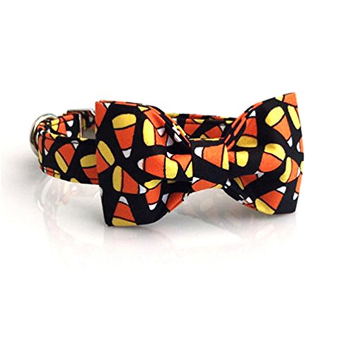 Kuntrona Halloween little pumpkin bowtie dog collar leash set adjustable buckle pet accseeary collar with bowtie M -