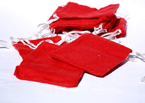 AURA VARIETY 72-Piece 3''x4'' Small RED Flannel Bag with White String Traditional Wiccan Gris Gris Mojo Treasure Bag by AURA VARIETY (Image #1)