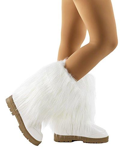 RF ROOM OF FASHION Fur-21 Vegan Faux Long Fur Mid Calf Slip On Round Toe Lug Sole Eskimo Winter Boots White (6)