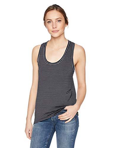 Amazon Brand - Daily Ritual Women's Jersey Racerback Tank Top, Navy-White Stripe, -