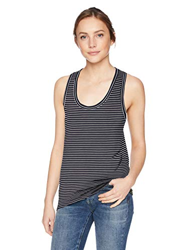 (Amazon Brand - Daily Ritual Women's Jersey Racerback Tank Top, Navy-White Stripe, X-Small)