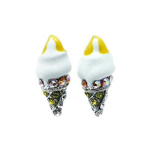 Sweet Cut Ice Cream Cone Crystal Rhinestone Enamel Stud Earrings Silver White (Icecream Cone Earrings compare prices)