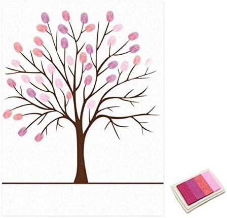 Tivollyff 結婚式のゲストブックパーソナライズされたラブツリーウェディングギフト指紋絵画DIYパーティーの装飾とInkpad