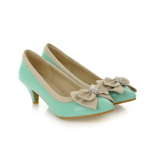 B Pointed 5 M Rhinestone Closed US with Solid PU Pumps Stiletto Females Toes Bowknot and 5 Skyblue WeenFashion 4qtxZUBwq