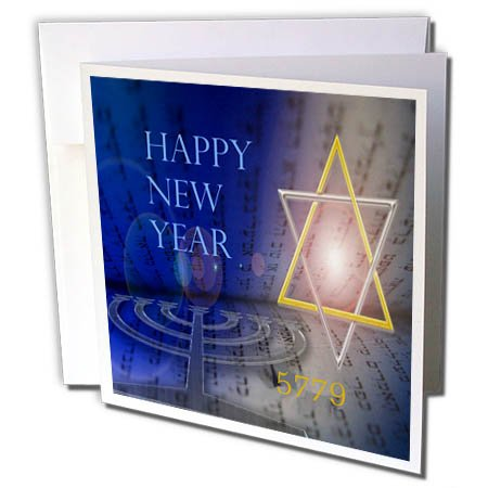 3dRose Jewish Themes - Image of Bright Mogen David with Menorah and Happy New Year - 6 Greeting Cards with Envelopes ()