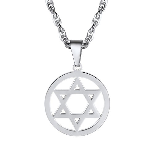 Jewish Magen Star of David Necklace Men/Women Bat Mitzvah Gift Israel Judaica Hebrew Jewelry Hanukkah Pendant Stainless Steel,PSP2946G Adult Bat Mitzvah