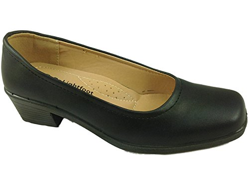 DrLightfoot Leather Ladies 8304 Casual Faux School Work Smart Shoes Office Loafer Black Black PU dqggWPt