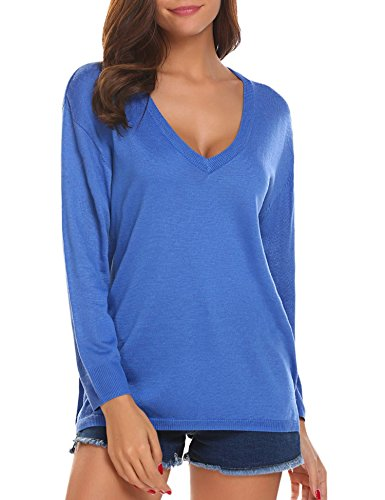 SoTeer Womens V-Neck Pullover Sweater Long Sleeve Loose Fit Knit Winter Blouse Tops Blue XX-Large