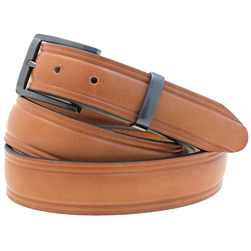 Men's 1 1/4 Domed Dress Belt London Tan Bridle Leather Buckle Loop Set Size 34 (Bridle Tan Leather)