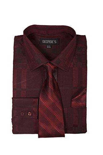 George's Geometric Pattern Fashion Dress Shirt with Woven Tie Set AH623 Burgundy-16-16 1/2-34-35 (Shirt Geometric Dress)