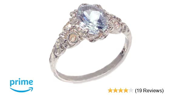 aaf08e1f373cf 925 Sterling Silver Real Genuine Aquamarine Womens Band Ring
