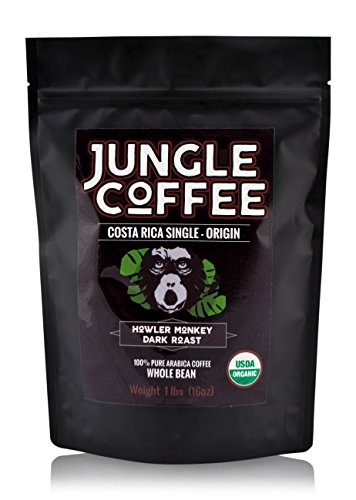 Jungle Costa Rican Coffee Beans Organic Dark Roast Whole Bean 1 lb Gourmet Best Coffee Beans 1 Pound Fresh Roasted Arabica Coffee