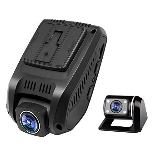 ZXS Dual Dash Cam, 1080P HD Front and Rear Camera, 6-Lane 170°Wide-Angle Lens, with GPS Module, Night Vision, G-Sensor, Dual-Port Super Capacitor WDR, Loop Recording with 32GB SD Card ()