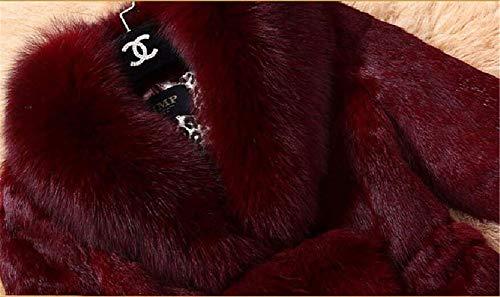 Giaccone Eleganti Monocromo Sintetica Parka Vintage Calda Casuale Vita Giacca Moda Pelliccia Schwarz Addensare Donne Di Cappotto Alta Lunga Donna Invernale Manica Giubotto Invernali PxSwHyTq1v