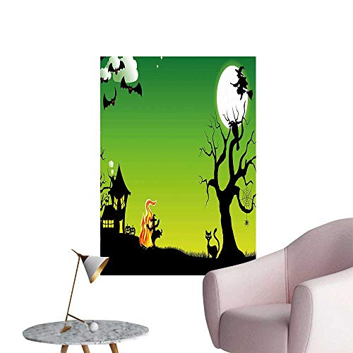 Wall Art Prints Witch Dancing Around The Fire at Halloween Ancient Western Horror Illustration Green Black for Living Room Ready to Stick on Wall,32