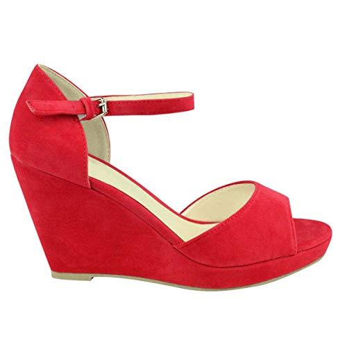 Abierta Mujer Verano Tira Tiras Cuñas Bajo Medio Tacón Rojo Plana Plataforma Punta En Gamuza De Zapatos Tobillo Talla r88qzwA5