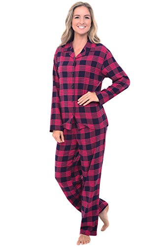 Alexander Del Rossa Women's Warm Flannel Pajama Set, Long Button Down Cotton Pjs, Small Classic Pink Plaid (A0509Q25SM)