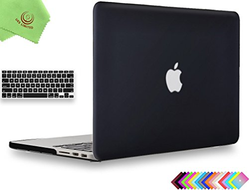 "Price comparison product image UESWILL 2in1 Smooth Soft-Touch Matte Hard Shell Case with Keyboard Cover for MacBook Pro 15"" with Retina Display (Model: A1398)(NOT for 2016 Version) + Microfibre Cleaning Cloth,  Black"