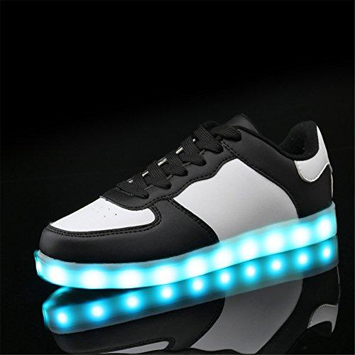 SAGUARO® Unisex 8 Colors USB Carga LED Luz Luminosas Flash Zapatos Zapatillas de Deporte Para Hombres Mujeres Blanco Low Top Negro
