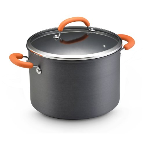 Rachael Ray Hard Anodized Nonstick 10-Quart Covered Stockpot, Orange For Sale