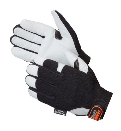 Liberty Lightning Gear Goatskin Leather Mechanic Glove with Reinforced Thumb Crotch Large White Pack of 1 Pair