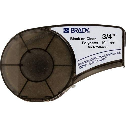 Brady M21-750-430, 110901 0.75'' x21' Clear BMP21 Workhorse Clear Polyester Label, Pack of 8 Cartridges