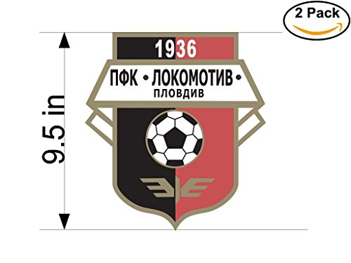 fan products of Lokomotiv Plovdiv Bulgaria Soccer Football Club FC 2 Stickers Car Bumper Window Sticker Decal Huge 9.5 inches
