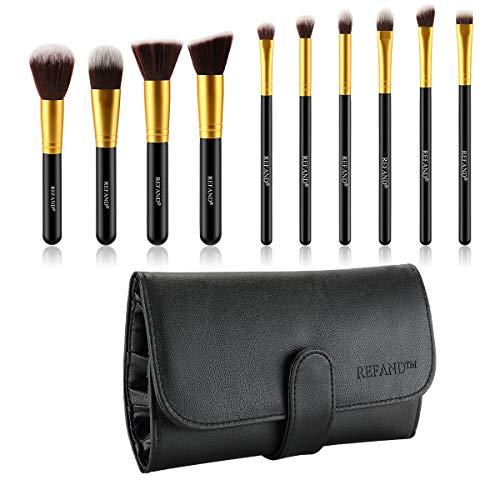 Refand Makeup Brushes Premium Makeup Brush Set Professional Makeup Kit with Pu Leather Storage Bag Gold Black (10 pcs)