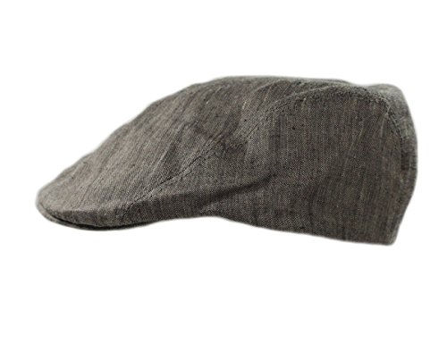 Satin Tweed Cap - Biddy Murphy Mens Flat Irish Hat Linen Three Panel Charcoal Made in Ireland Large