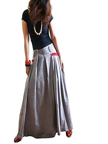 Idea2lifestyle Women's Long Linen Maxi SKirt Gray (S(US 6))