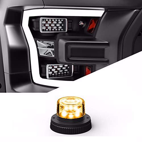 SpeedTech Lights 6 LED 18W Strobe Light for Police Cars, Construction Trucks, Service Vehicles, Plows, Emergency Vehicles. Surface Mount Grille Flashing Hazard Beacon Light - Amber/Amber