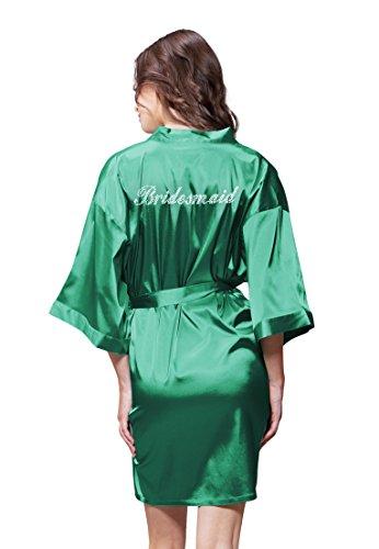Turquaz Linen Satin Kimono Rhinestone Bridesmaid Robe (XX-Large, Lush Meadow (Meadow Green Satin)