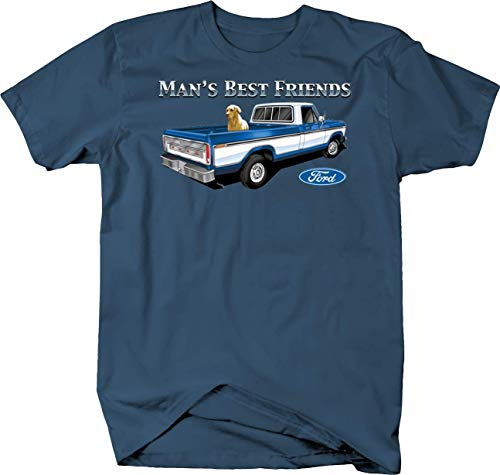 Gold Retrievier Sitting in Old Ford Pickup Truck Bed Custom Tshirt - XLarge