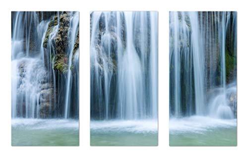 Lunarable Waterfall Wall Art 3 Piece Set, Massive Magnificent Cascaded Waterfall in Rainforest with Intense Water Nature Imagery, Gloss Aluminium Modern Metal Artwork Panel Set for Wall Decor, White