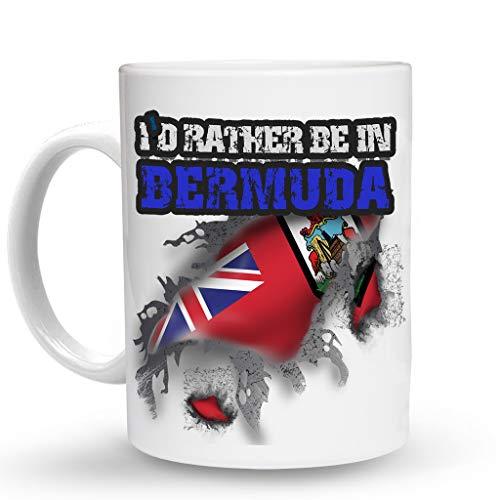 Bermuda Mug - Makoroni - I'D RATHER BE IN BERMUDA Mug - 11 Oz. Unique COFFEE MUG, Coffee Cup