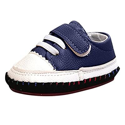 Fiaya Baby Boys Girls First Walkers Striped Splice Leather Soft Sole Crib Shoes | NB-18M from Fiaya