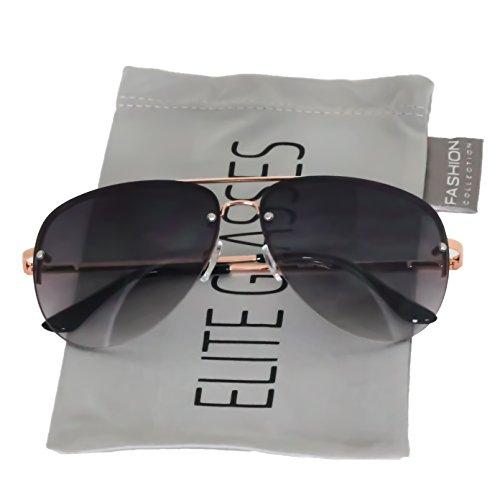 (Elite Gradient Oceanic Lens Oversized Rimless Metal Frame Unisex Aviator Sunglasses (Gold/Black Lens, 2.5))