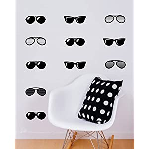pioku Vinyl Wall Lettering Decals Letters Wall Quotes Sunglasses Decal Teen Bedroom Decor Laptop Sticker Black Glasses For Bedroom Living Home Family
