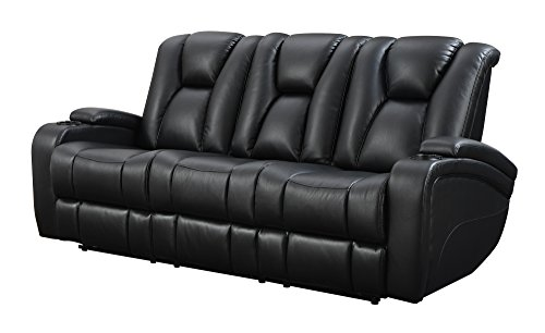 Coaster Home Furnishings  Delange Modern Power Motion Three Seater Sofa with Power Headrest Storage Arms Drop Down Console Power Outlet LED – Black Faux Leather