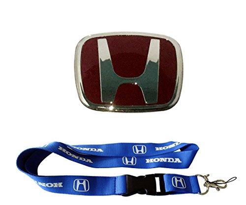 Steering Holder Wheel Key (New 1pcs Honda Keychain Lanyard Badge Holder + Red Honda Steering Logo Element Fit Emblem)