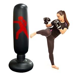 Saco de Boxeo Saco de Suelo para Pr/áctica de Boxeo con Aguantes para Adultos con Soporte Ajustable de 120-150cm con Accesorios inclinaci/ón hasta 90/º Color Rojo