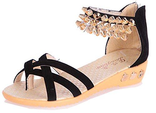 Confortable Sandales Rivets Noir Femme Toe Clip Talon Compensé avec Aisun fqWp6HS5gW