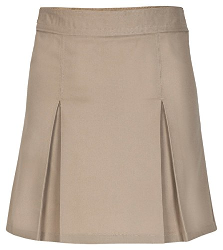 Knit Skirt Pleated Cotton (Classroom Uniforms Little Girls' Pleated Front Scooter, Khaki, 4)