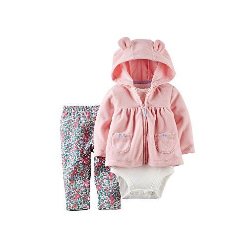 Carter's Hoodie, Bodysuit and Pants - Baby Girls, Pink, 6 month