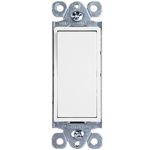 Decorator Rocker Light Switch by Enerlites 91150-W, 15 Amp 125V-270V AC Single Pole, White - 10 Pack, 3 Wire Grounded Electrical On Off Paddle Panel Insert Replacement Kit